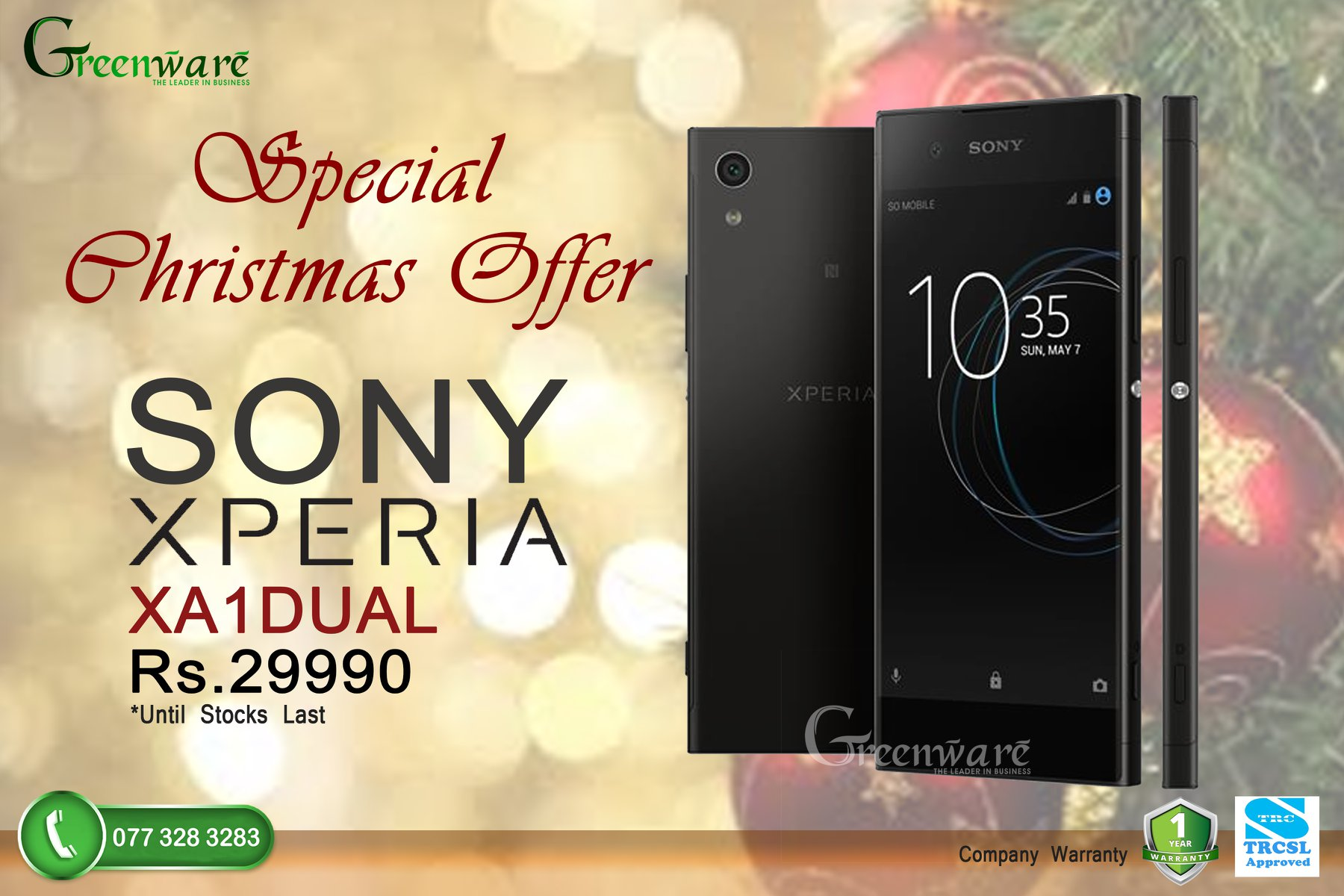 Greenware Mobile More Christmas Offers !! Come shop until you drop with these exciting offers to come!  Sony Xperia XA1 Dual for just Rs.29990 with 1 year of company warranty too!   Offer valid till stocks last, so hurry!  G R E E N W A R E - The Leader in Business Phone :