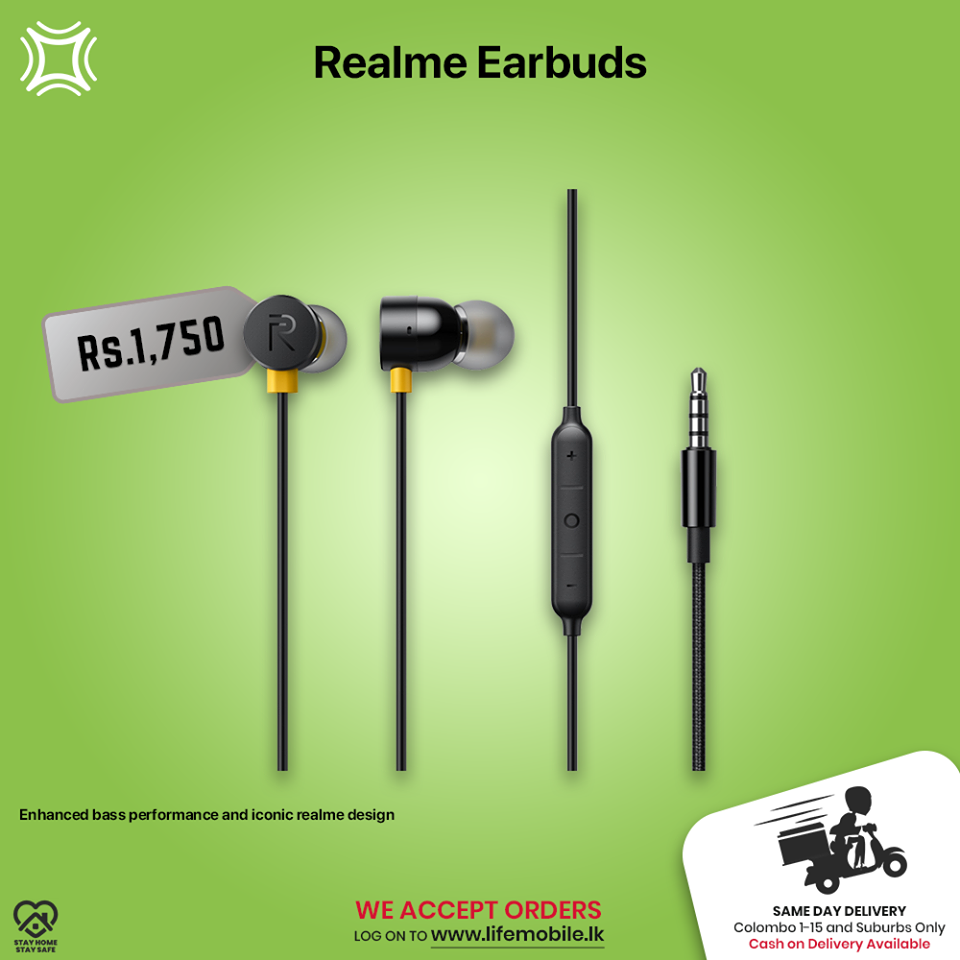 Life Mobile Realme EarbudsBuy online: https://bit.ly/RealmeEarBudsWe are happy to inform you that Life Mobile delivers to your doorstep now. For inquiries please contact us on our dedicated lockdown line 77 0045678 / 0777 060616 or log on to www.lifemobile.lk to make your orders.All deliveries