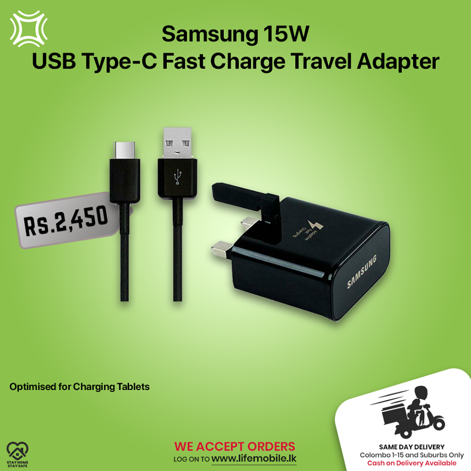 Life Mobile Samsung 15W USB Type-C Fast Charge Travel AdapterBuy online: https://bit.ly/15WUSBTypeCWe are happy to inform you that Life Mobile delivers to your doorstep now. For inquiries please contact us on our dedicated lockdown line 77 0045678 / 0777 060616 or log on to www.lifemobile.lk&
