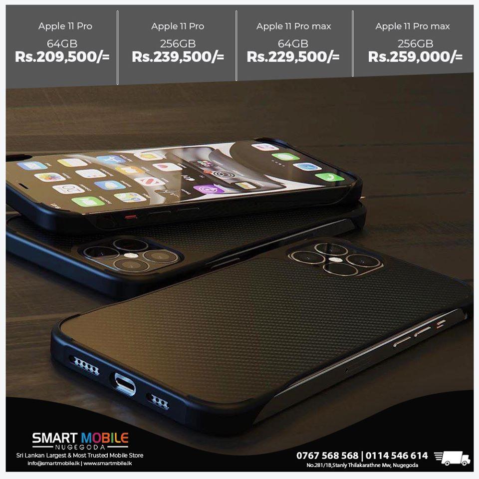 Smart Mobile Nugegoda Apple iPhone 11 Pro (64GB) - Rs.209,500/=Apple iPhone 11 Pro (256GB) - Rs.239,500/=Apple iPhone 11 Pro Max (64GB) - Rs.229,500/=Apple iPhone 11 Pro Max (256GB) - Rs.259,000/=With 1 Year APPLECARE Warranty. + GENXT COMPANY Warranty.????0772 337 148????www.smartphone.lk????&